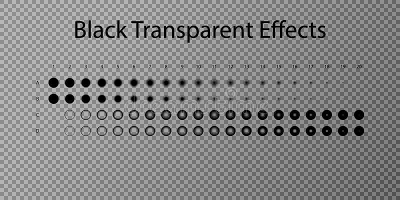 Ställ in illustrationvektoreffekt Genomskinliga ljusa effekter och mousserar Ställ in vektoreffekt Lutningeffekt Realistisk skugg stock illustrationer