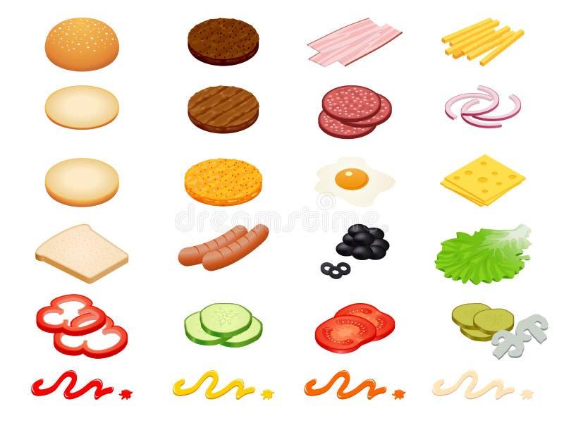 Ställ in ingredienser för hamburgaren för vektorkonstruktörn isometriska och hamburgarebullar som isoleras på vit bakgrund Skinka royaltyfri illustrationer
