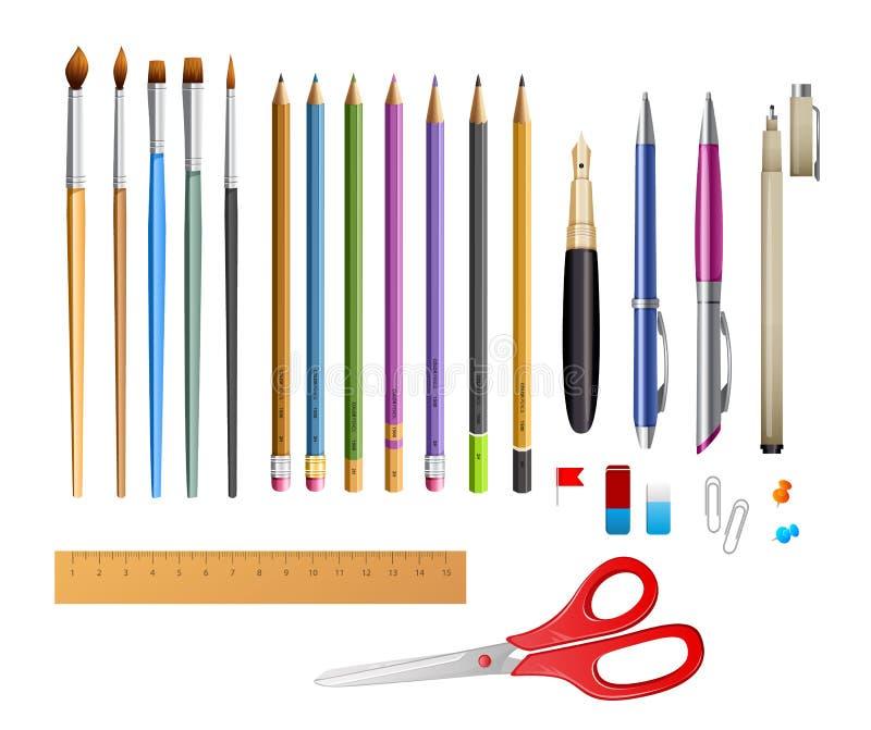 Ställ in inkluderar pennana blyertspennor stock illustrationer