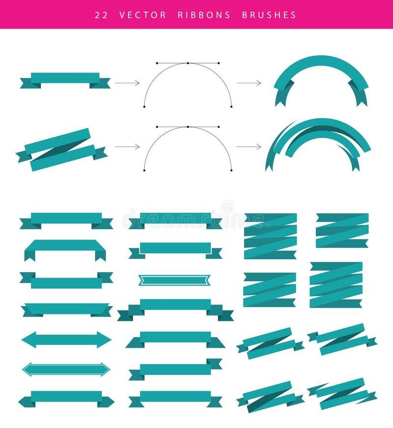 Ställ in inkluderar 22 vektorband royaltyfri illustrationer