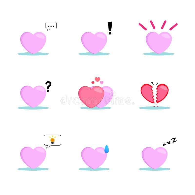 Ställ in inklusive symbolet av hjärtan för att uttrycka känslorna royaltyfri illustrationer