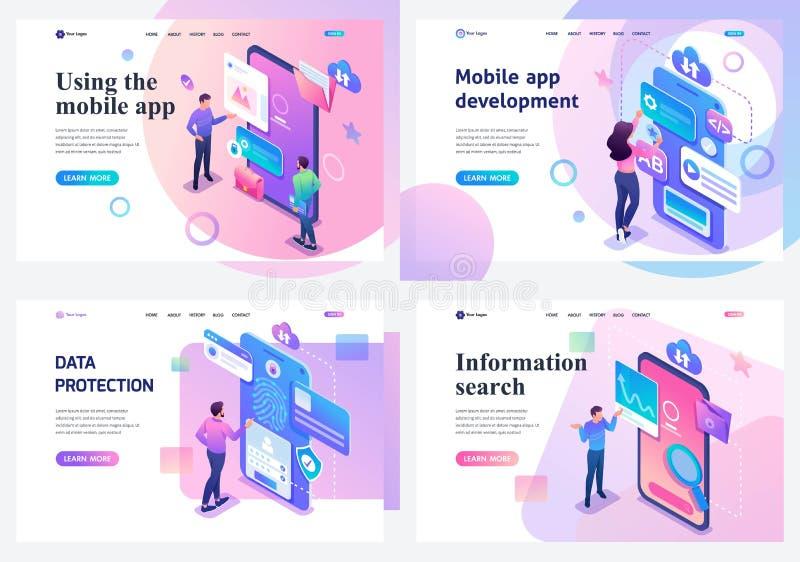 Ställ in isometriska landa sidor, ett begrepp med ungt informationssökande om tonåringar och skydd, mobil applikationutveckling royaltyfri illustrationer