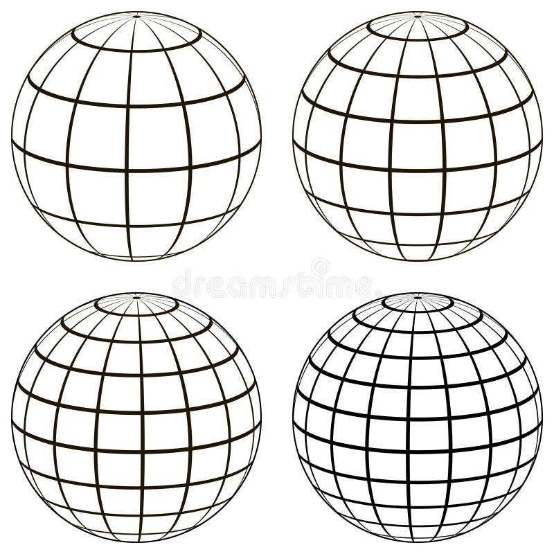 Ställ in jordklotmodellen för bollen 3D av jordsfären med ett koordinerat raster, stock illustrationer