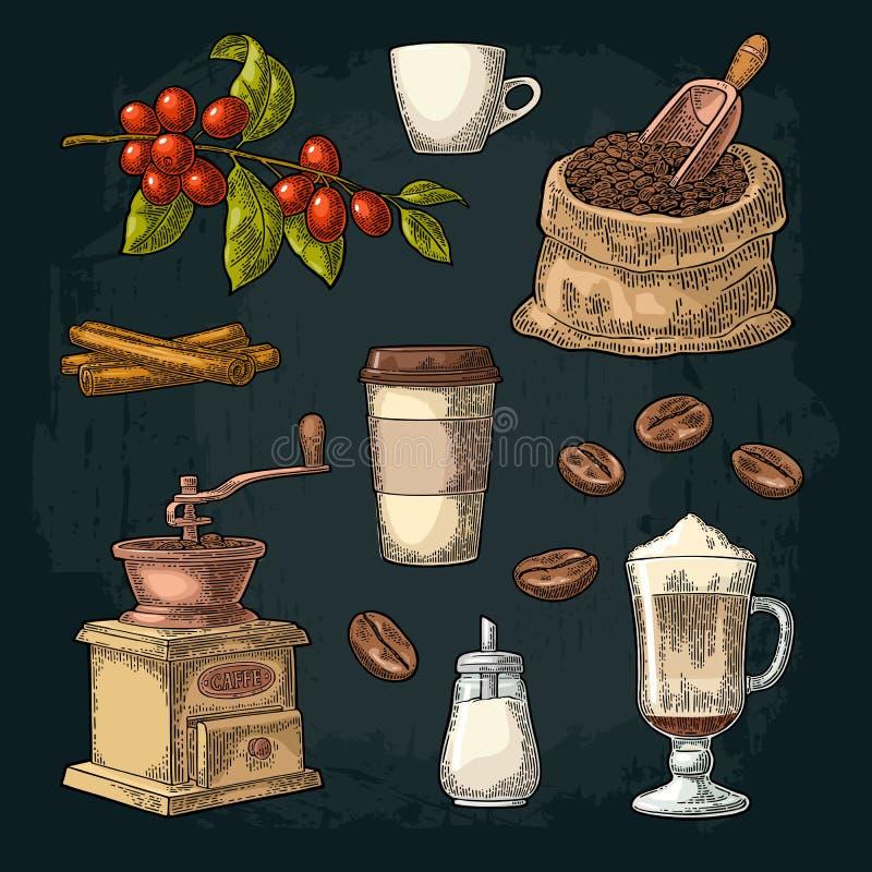 Ställ in kaffe Glass latte, handhållkopp Filial med bönor royaltyfri illustrationer