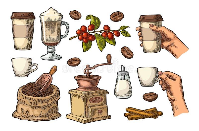 Ställ in kaffe Glass latte, handhållkopp Tappninggravyr vektor illustrationer