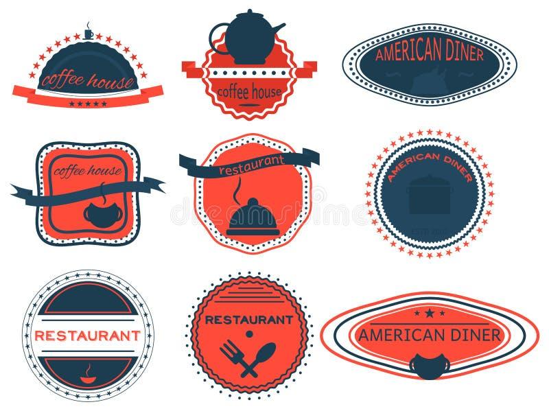 Ställ in kaffehuset, den amerikanska matställen, retro tappningemblem, band vektor illustrationer