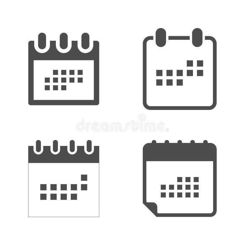 Ställ in kalendersymbolen i plan stil Kalendersymbol för din webbplatsdesign, logo, app, UI stock illustrationer