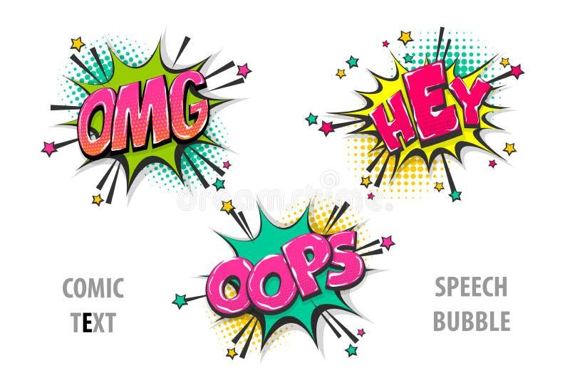 Ställ in komisk omg för textanförandebubblan hej oops stock illustrationer