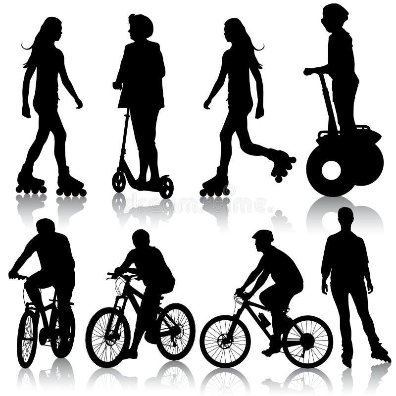 Ställ in konturn av en cyklist. vektorillustration. stock illustrationer