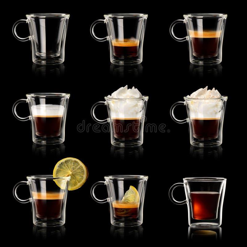 Ställ in koppar kaffe arkivfoton