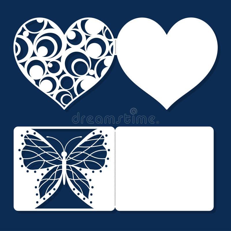 Ställ in kort för ferie för hälsningen för dagen för valentin för bröllopinbjudankopplingen stock illustrationer