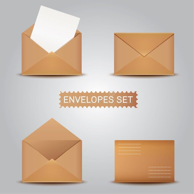 Ställ in Kraft kuvert öppet stängt kuvert vektor illustrationer