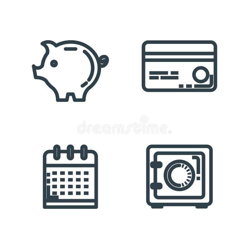 Ställ in kreditkorten med den starka asken och svinet stock illustrationer