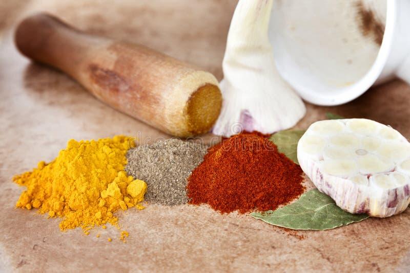 ställ in kryddor arkivfoton