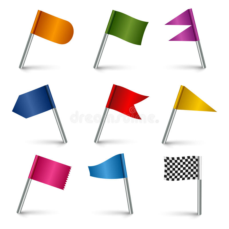 Ställ in kulöra beståndsdelar för flaggabenrengöringsduken royaltyfri illustrationer