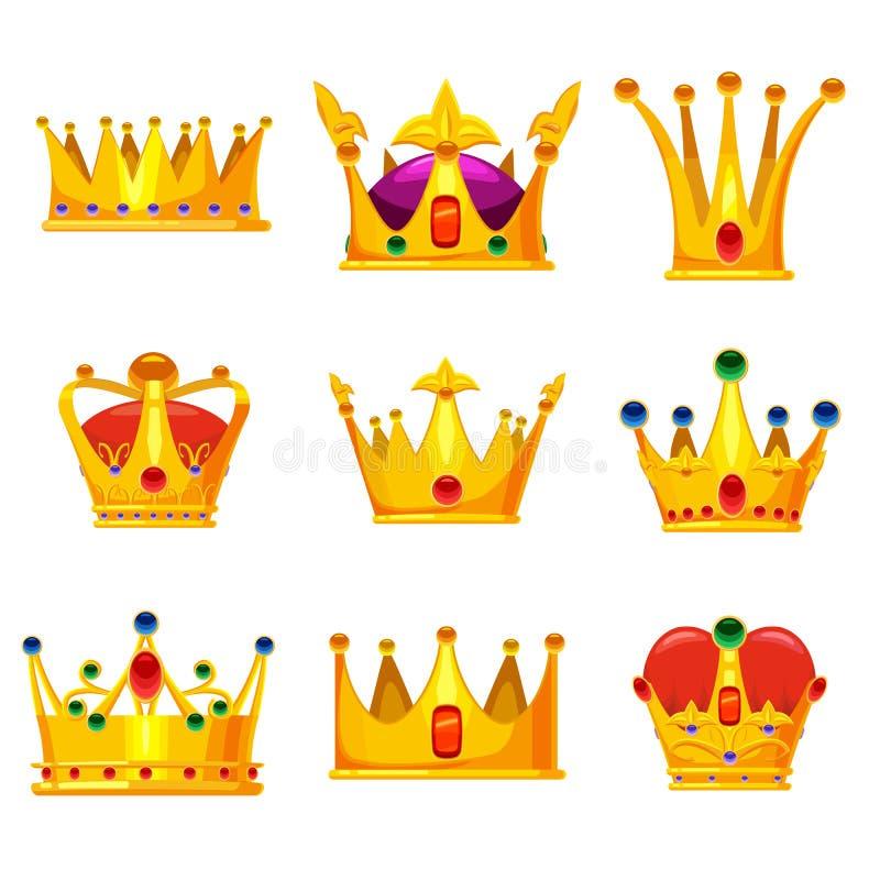 Ställ in kungliga guld- kronor med juvlar, vektortecknad filmsymboler som isoleras på vit bakgrund Heraldiska beståndsdelar som ä royaltyfri illustrationer