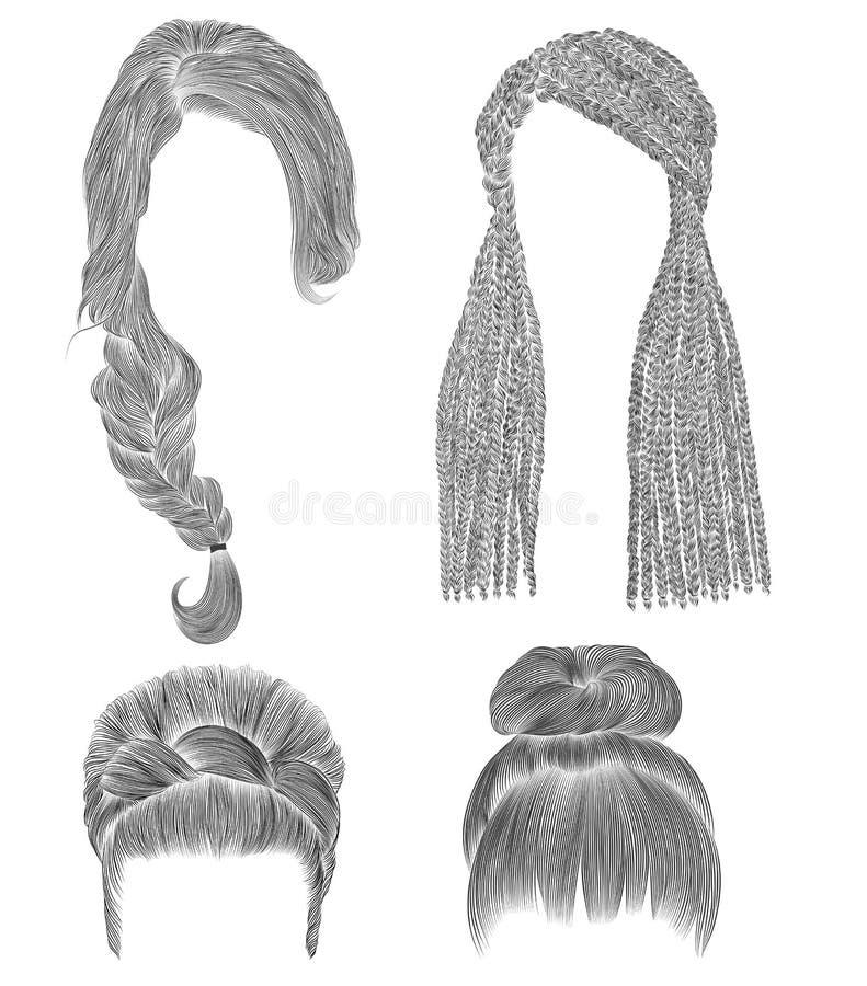Ställ in kvinnahår den svarta blyertspennateckningen skissar stil för skönhet för mode för kvinnor för frisyr för bullebabette fr royaltyfri illustrationer