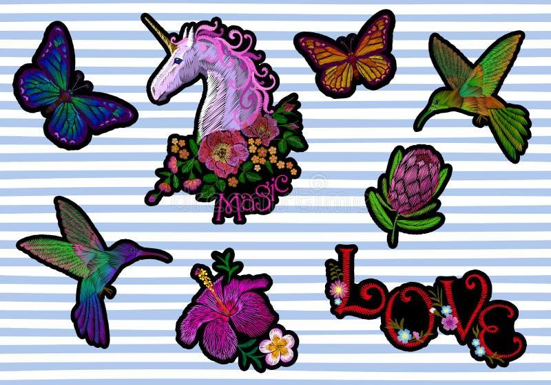 Ställ in lappen för klistermärkeemblembroderi Symbol för tropisk exotisk blomning för fjäril för enhörningblommakolibri blom- vektor illustrationer