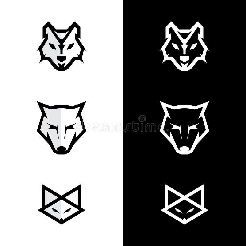 Ställ in logoen för logoräv- och vargframsidan royaltyfri illustrationer