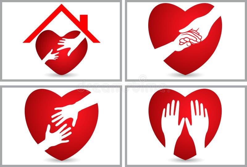 Ställ in logoen för samlingshjärtaomsorg vektor illustrationer