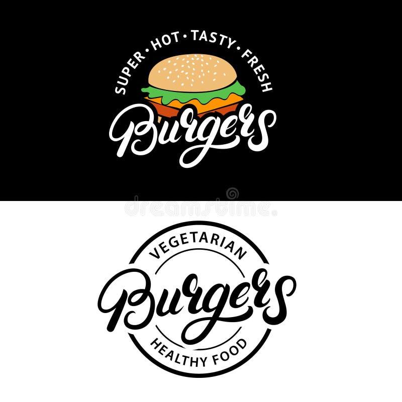 Ställ in logoer för bokstäver för hamburgarehanden skriftliga, emblem, etiketter, emblem royaltyfri illustrationer