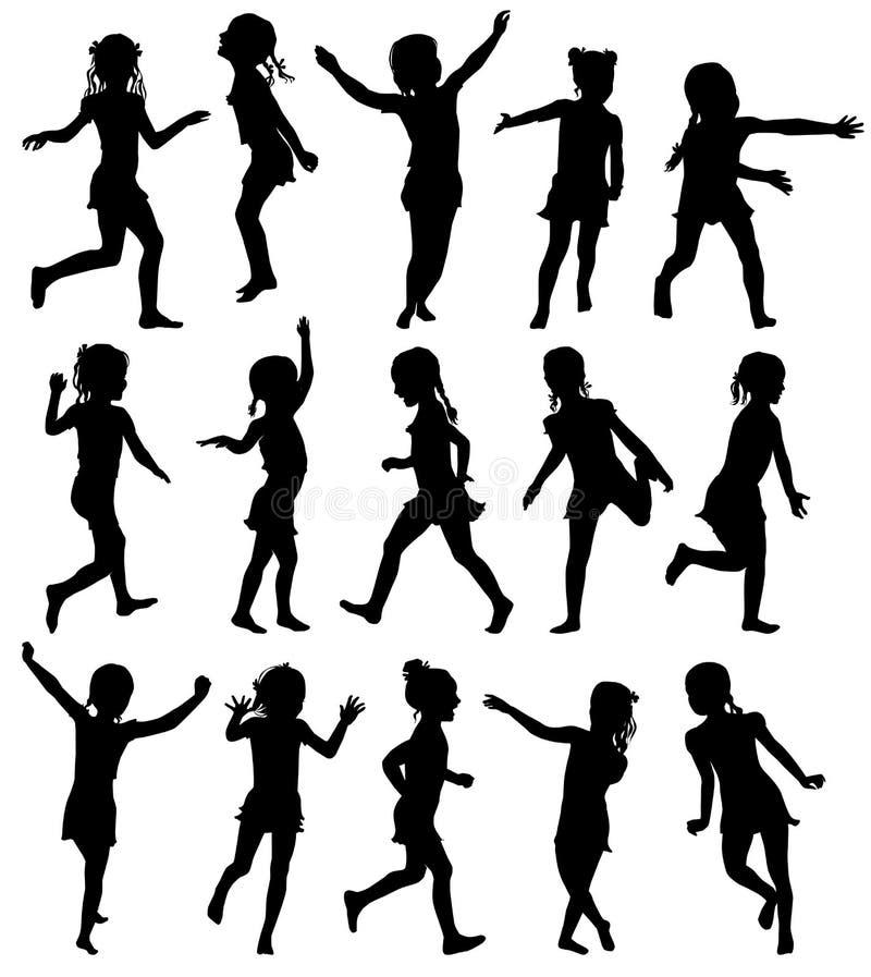 Ställ in lyckliga flickor för konturer som hoppar och kör stock illustrationer