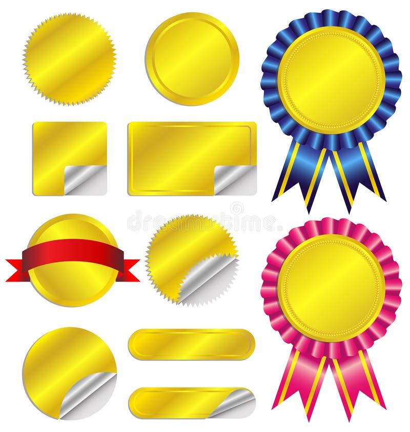 Ställ in lyxiga guld- etiketter och band royaltyfri illustrationer