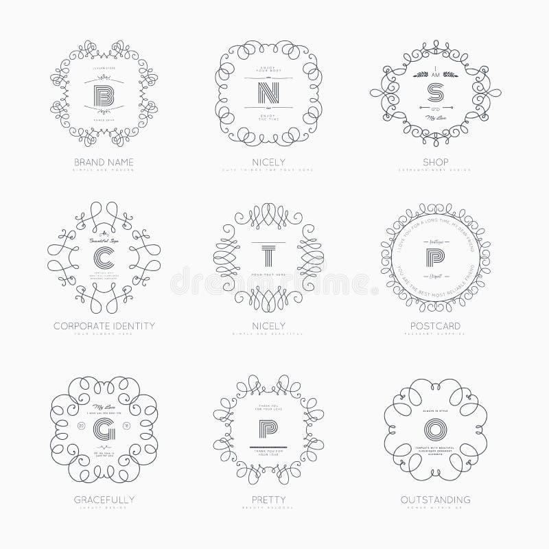 Ställ in lyxigt tecken royaltyfri illustrationer