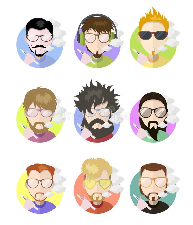 Ställ in män för avatarsprofillägenheten som vaping e-cigaretten, olika tecken vektor illustrationer