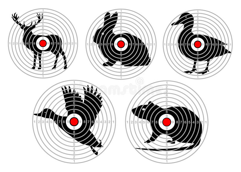 Ställ in mål för djur skytte Utbildningsjakt vektor royaltyfri illustrationer