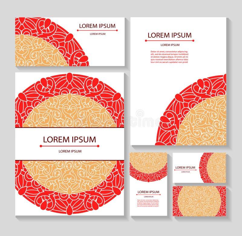 Ställ in mallaffärskort och inbjudningar med runda modeller av mandalas Företags stil stock illustrationer