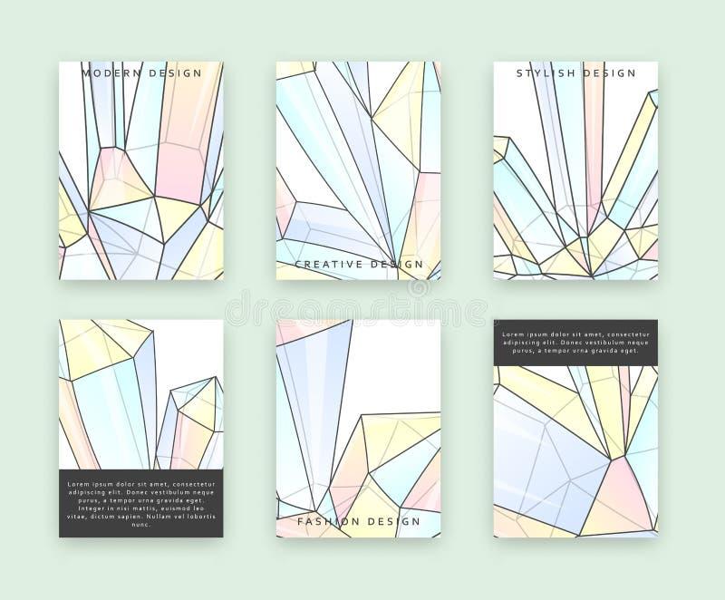 Ställ in mallar för utskrift med kristaller och diamanter Bergkristallklotter vektor illustrationer