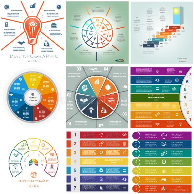 Ställ in 9 mallar, Infographics cykliska processar, sju positioner stock illustrationer