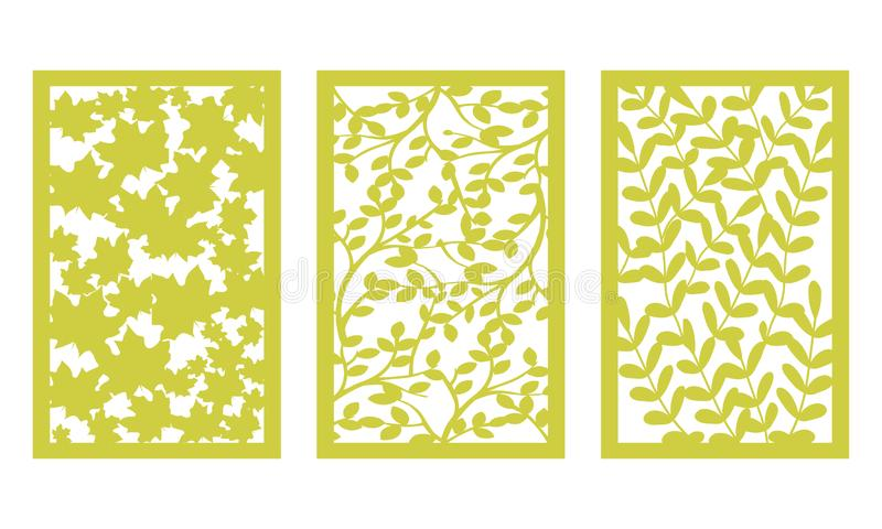 Ställ in mallen för att klippa Sidamodell Laser-snitt För plottare vektor royaltyfri illustrationer