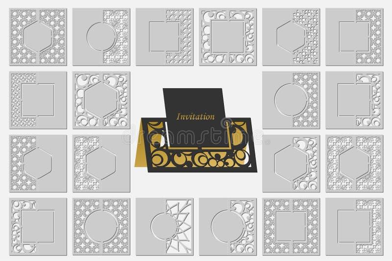 Ställ in mallkort till snittet topper Bruk för lyckönskan, inbjudningar, presentationer, bröllop royaltyfri illustrationer