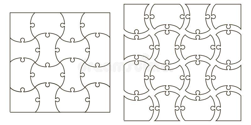Ställ in mallpusselstyckena, vektoruppsättningen för att skapa komplexa pusselstycken, avbilda tillämpbart till flera begrepp vektor illustrationer