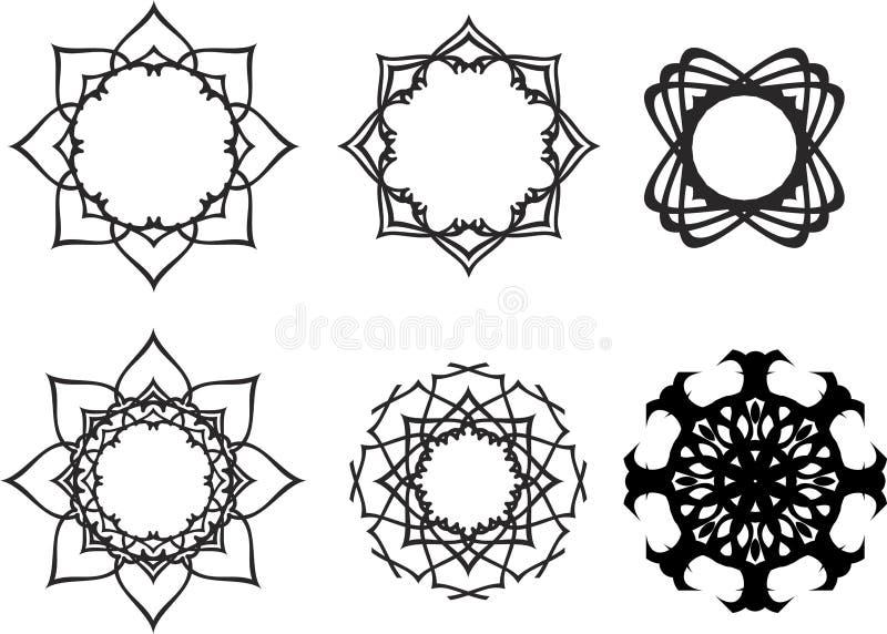 Ställ in mandalas mönstrad runt royaltyfri illustrationer