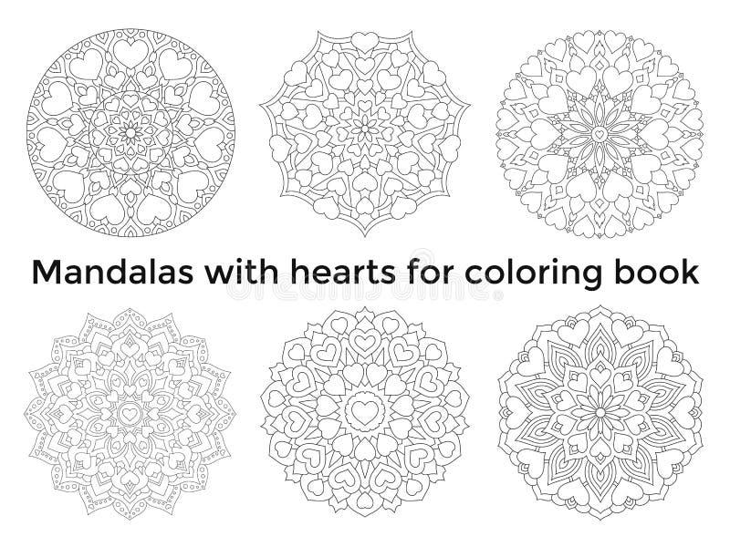 Ställ in mandalas med hjärtor Symmetriska cirkulärprydnader för samling stock illustrationer