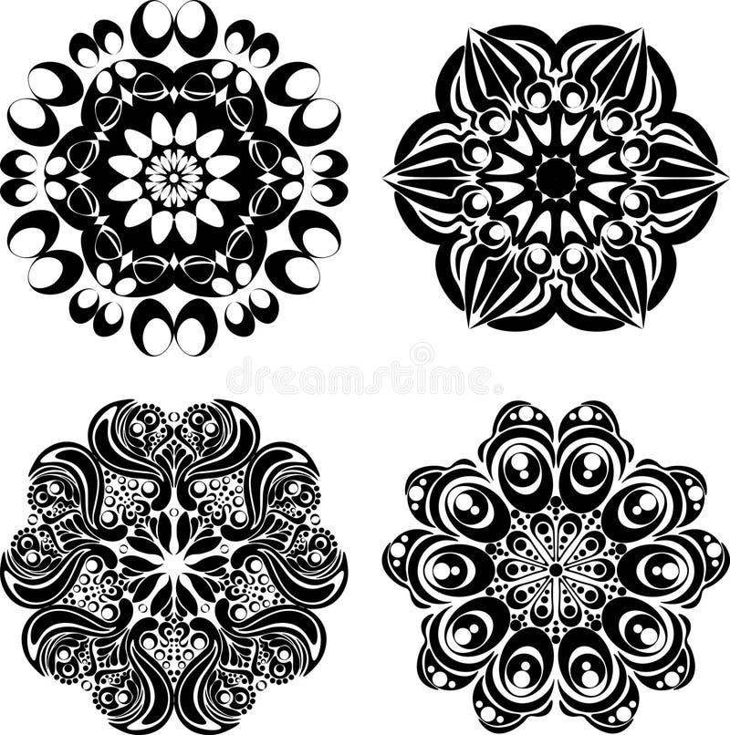 Ställ in mandalas Rund prydnadmodell också vektor för coreldrawillustration royaltyfri illustrationer
