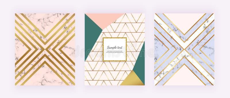 Ställ in marmorbakgrunder med guld- geometriska linjer, triangelformer Modern räkning för inbjudan, plakat, födelsedag, broschyr, vektor illustrationer