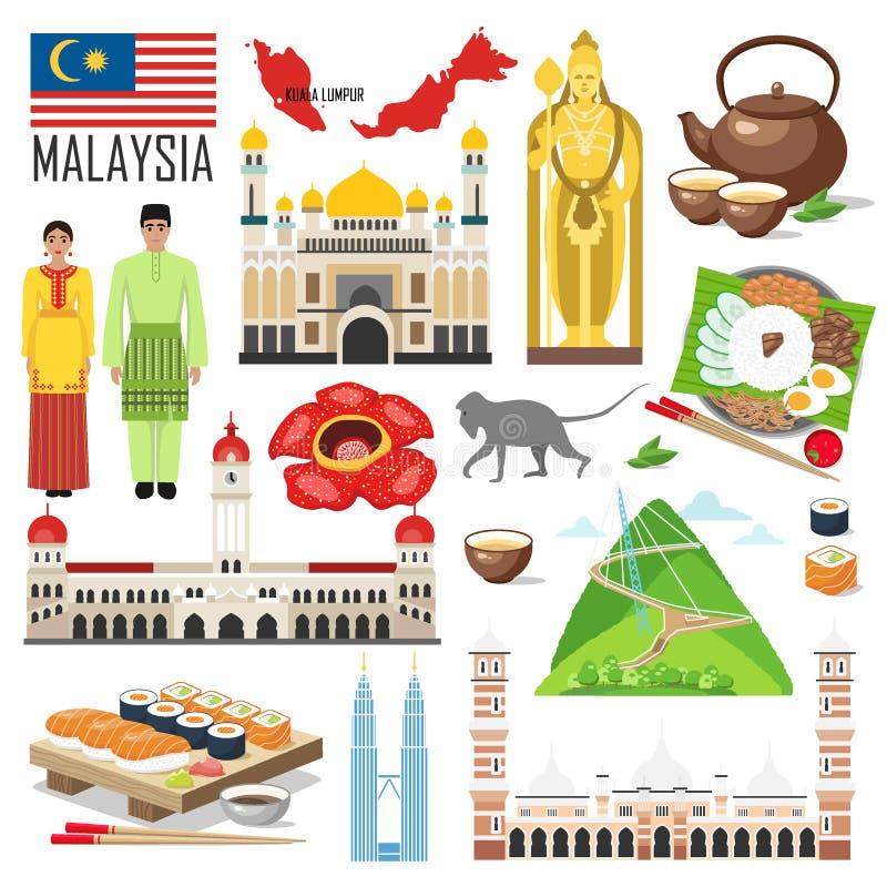 Ställ in med arkitektur, nationsflaggan, dräkten, översikten, mat och oth vektor illustrationer