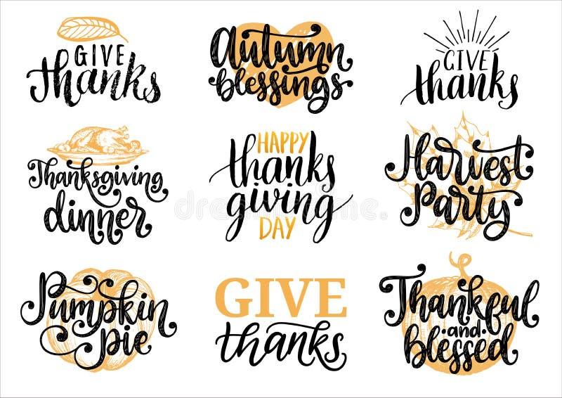 Ställ in med bokstäver och illustrationer för tacksägelsedag Ge tack, pumpapajen, drog och handskrivna etiketter för vektor royaltyfri illustrationer