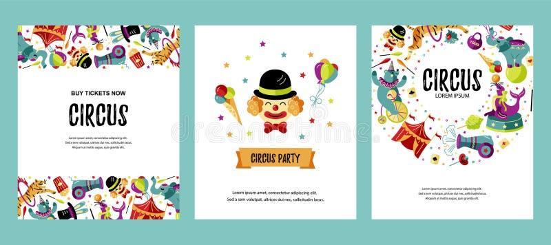 Ställ in med clownen, djur, cirkustältet och trollkarlar stock illustrationer