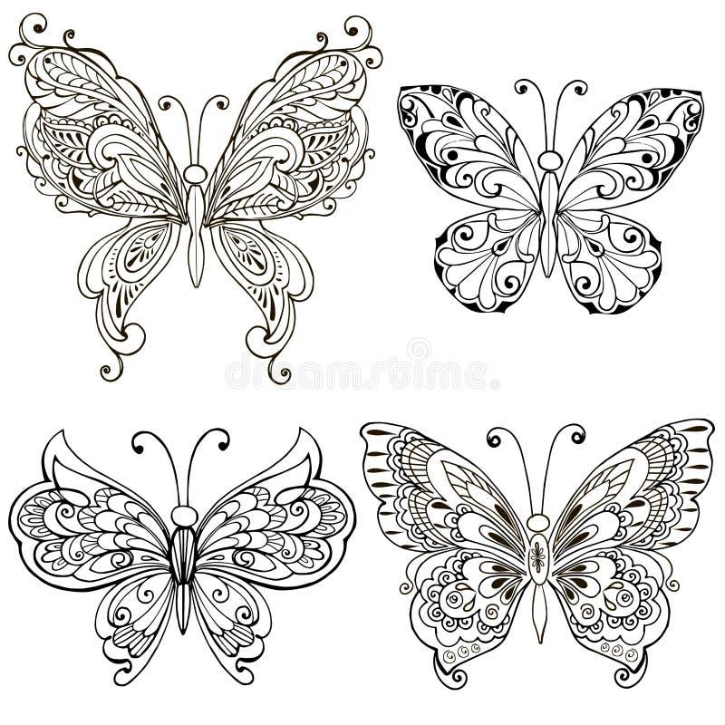 Ställ in med dekorativa fjärilar för att färga sidan Det dekorativa mönstrade trycket, monokrom skissar stock illustrationer