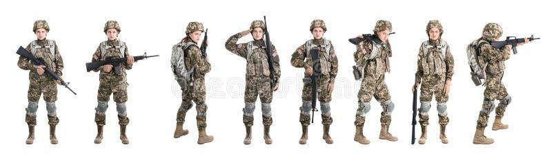 Ställ in med den kvinnliga soldaten på vit bakgrund arkivbilder