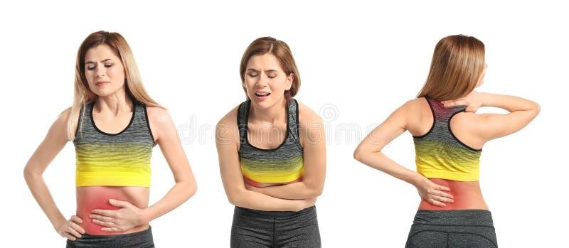 Ställ in med den mogna kvinnan som lidande från smärtar i olika delar av kroppen arkivfoto
