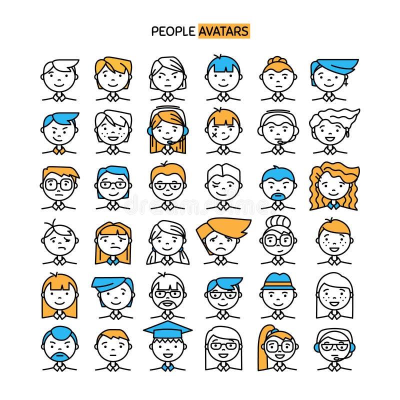 Ställ in med den tunna linjen symbol av stilfulla avatars för folk för profilsida vektor illustrationer