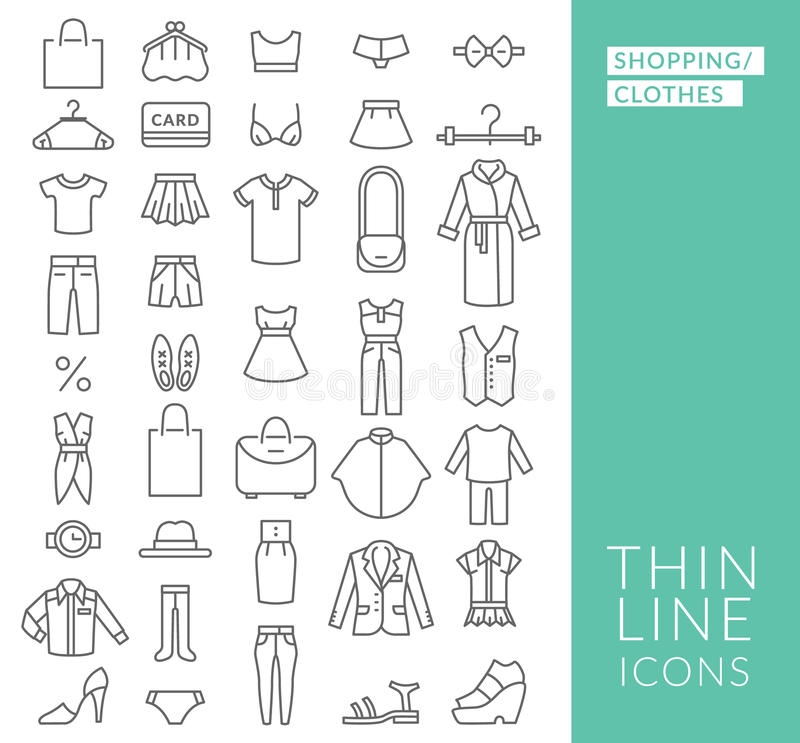 Ställ in med den tunna linjen symboler på tema av shopping royaltyfri illustrationer