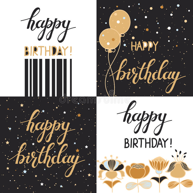 Ställ in med drog bakgrunder för den lyckliga födelsedagen den idérika handen stock illustrationer