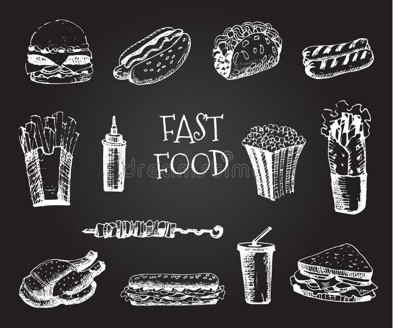 Ställ in med drog illustrationen för snabbmat handen Skissa vektorillustrationen Snabbmatrestaurang, snabbmatmeny Hamburgare varm royaltyfri illustrationer